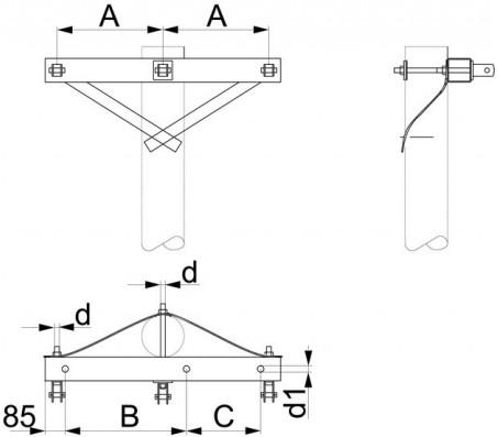 Траверса одноцепная концевая SH155