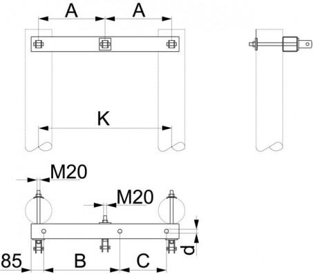 Траверса одноцепная концевая SH156