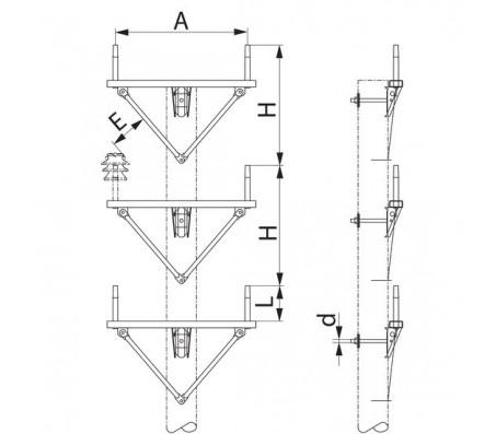 Траверса двухцепная промежуточная SH181