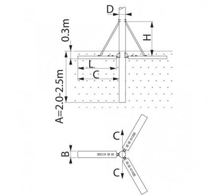Крепление стойки для слабого грунта SH184.3